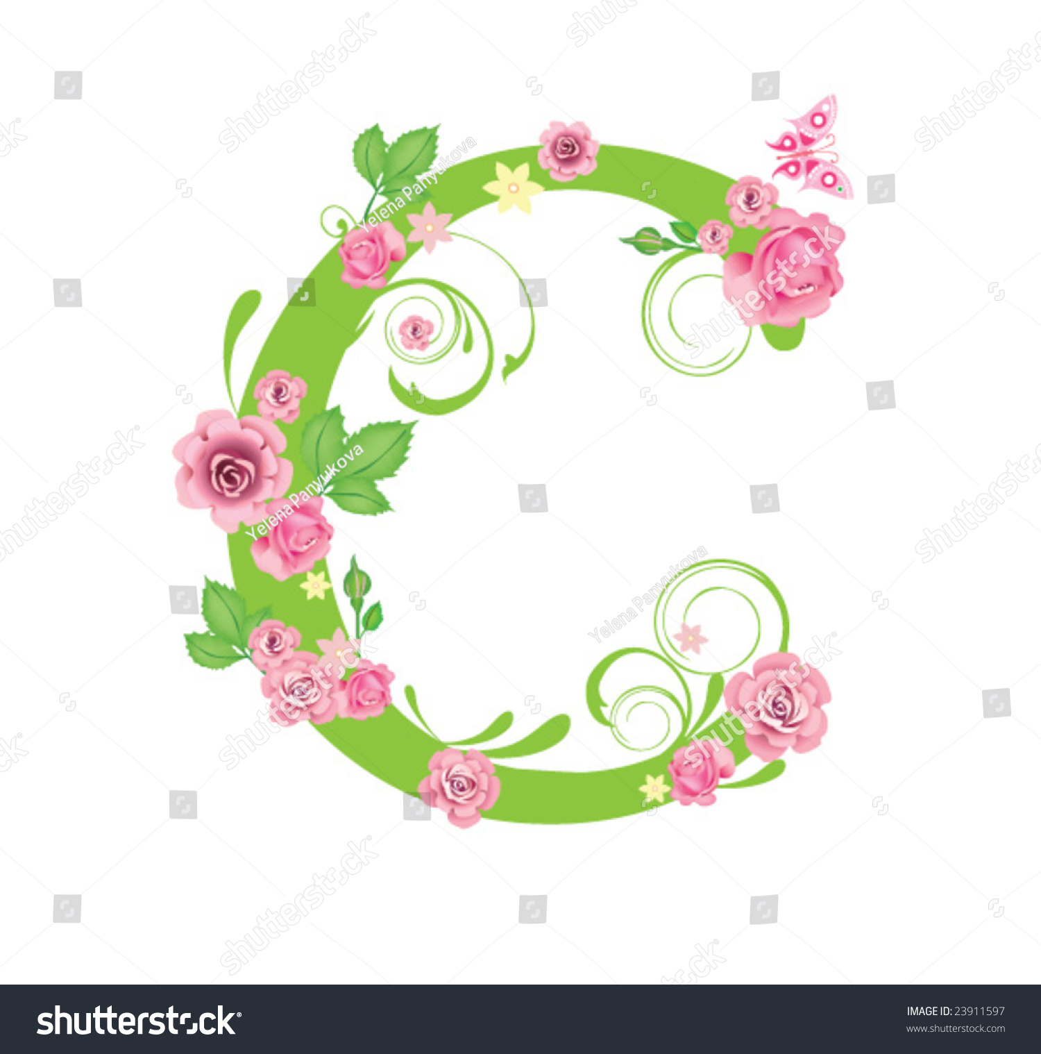 letter c roses design stock vector 23911597 shutterstock. Black Bedroom Furniture Sets. Home Design Ideas