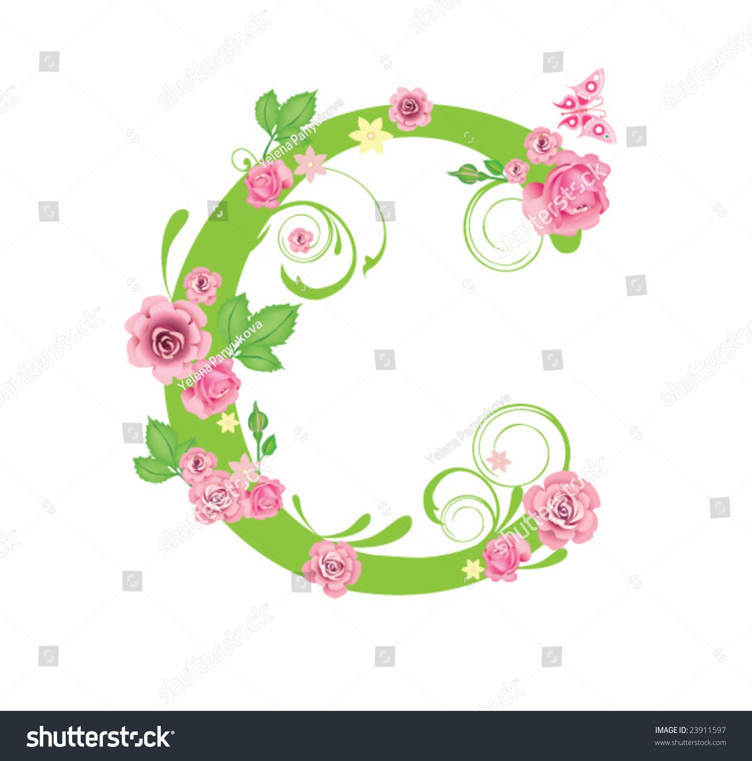 letter c roses design stock vector 23911597 shutterstock. Black Bedroom Furniture Sets. Home Design Ideas