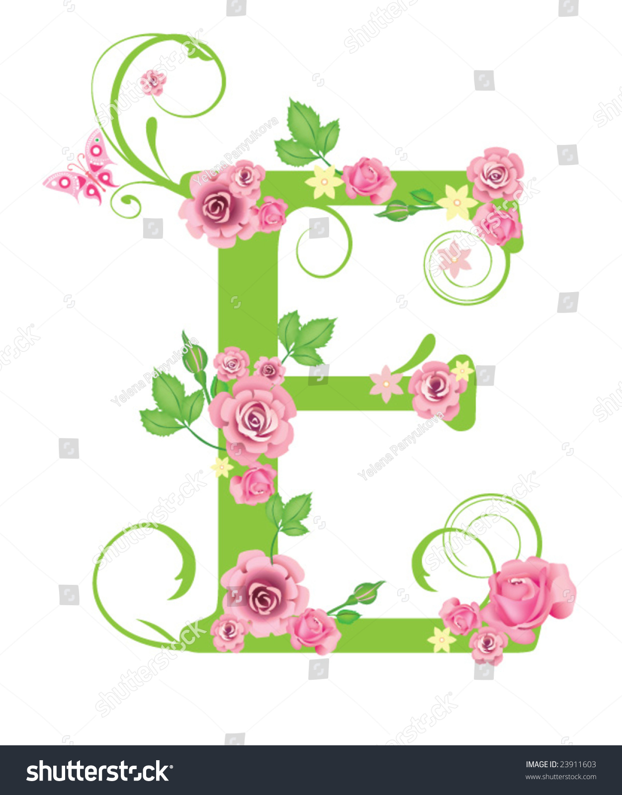 Letter E With Roses For Design Stock Vector Illustration ...