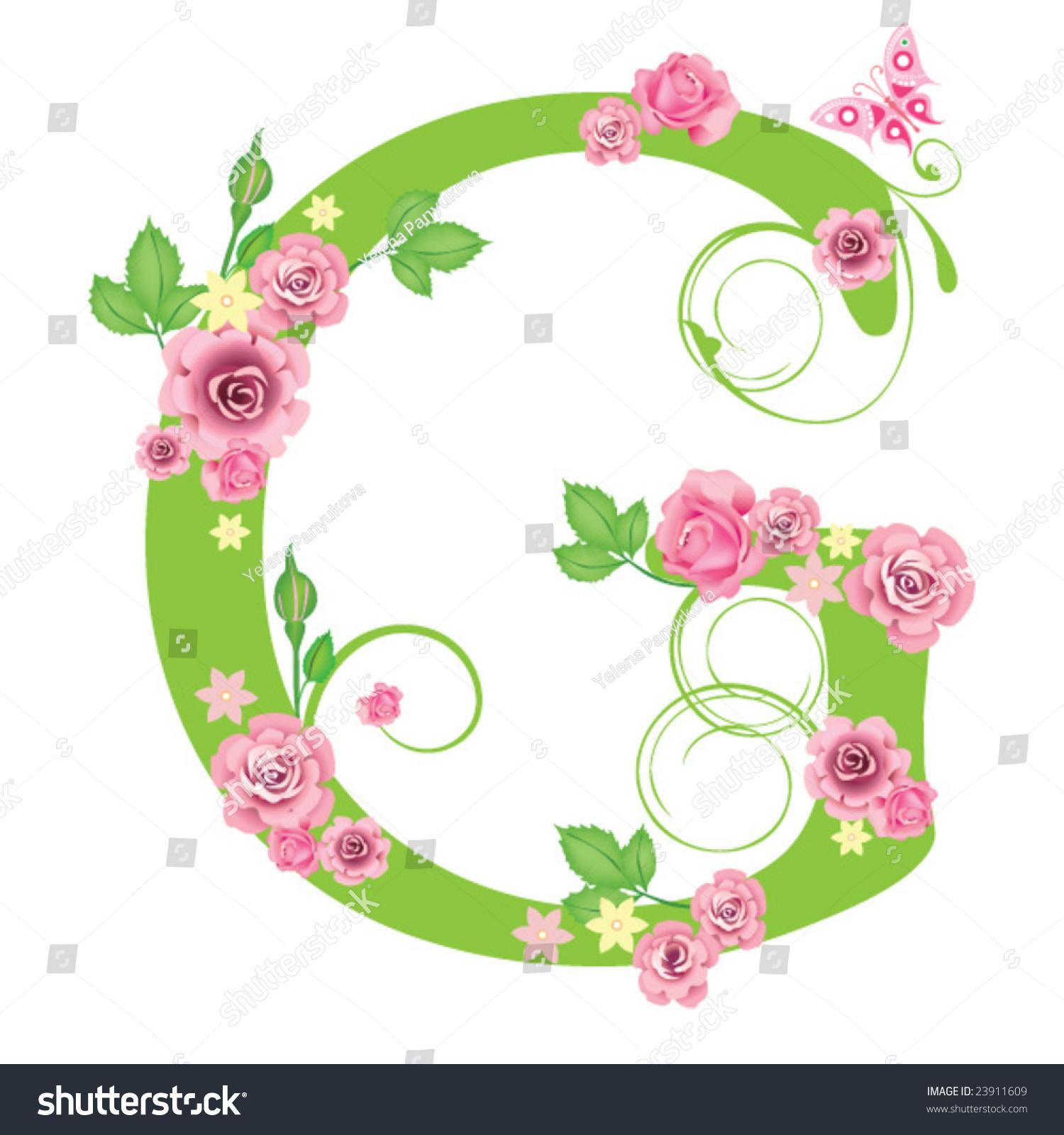 letter g roses design stock vector 23911609 shutterstock