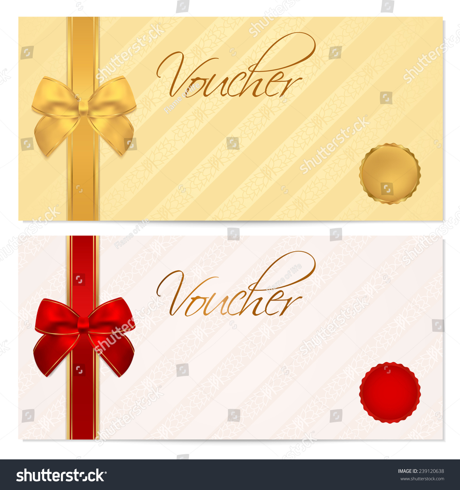 Voucher Gift Certificate Coupon Template Stripe Stock Illustration ...