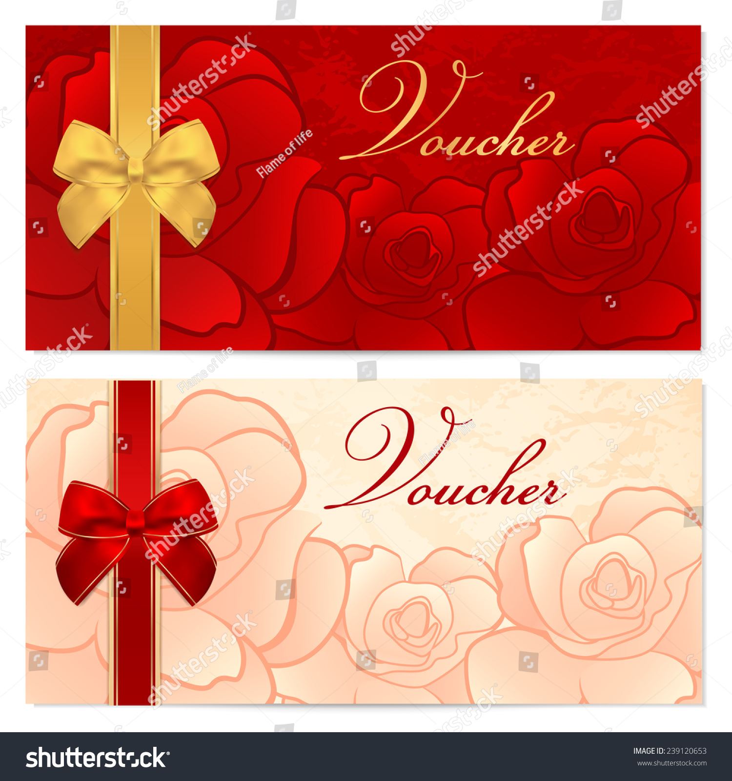 Voucher Gift Certificate Coupon Template Floral Stock Illustration ...