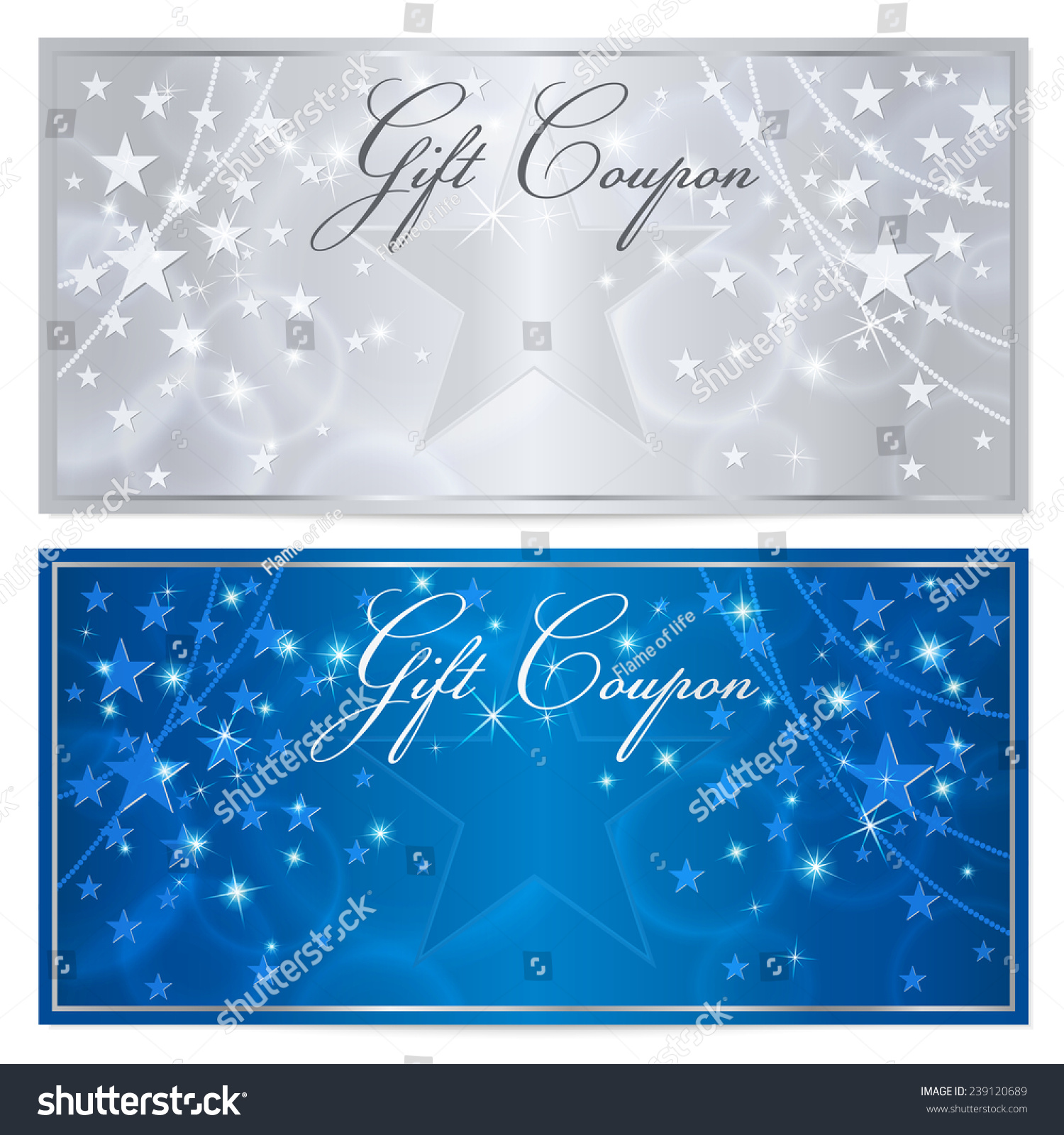 gift certificate voucher coupon template stars stock illustration gift certificate voucher coupon template stars pattern holiday silver and blue background