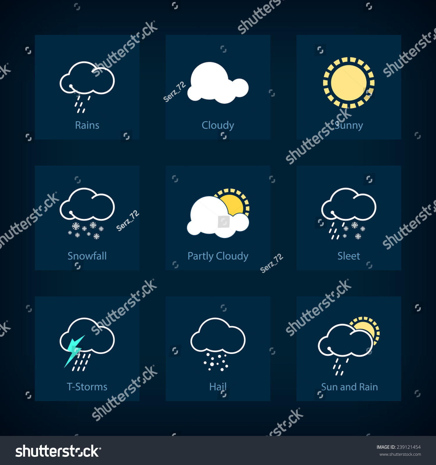 Set Weather Symbols Icon Rains Cloudy Stock Vector Royalty Free