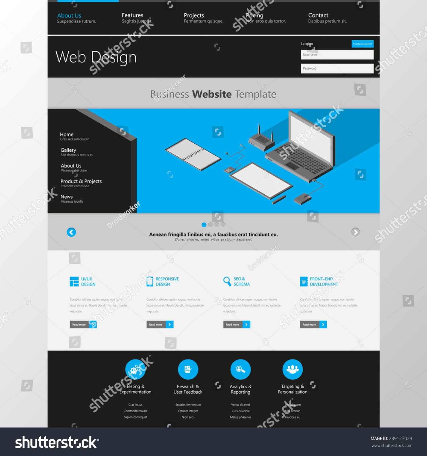 website interface template one page modern futuristic style