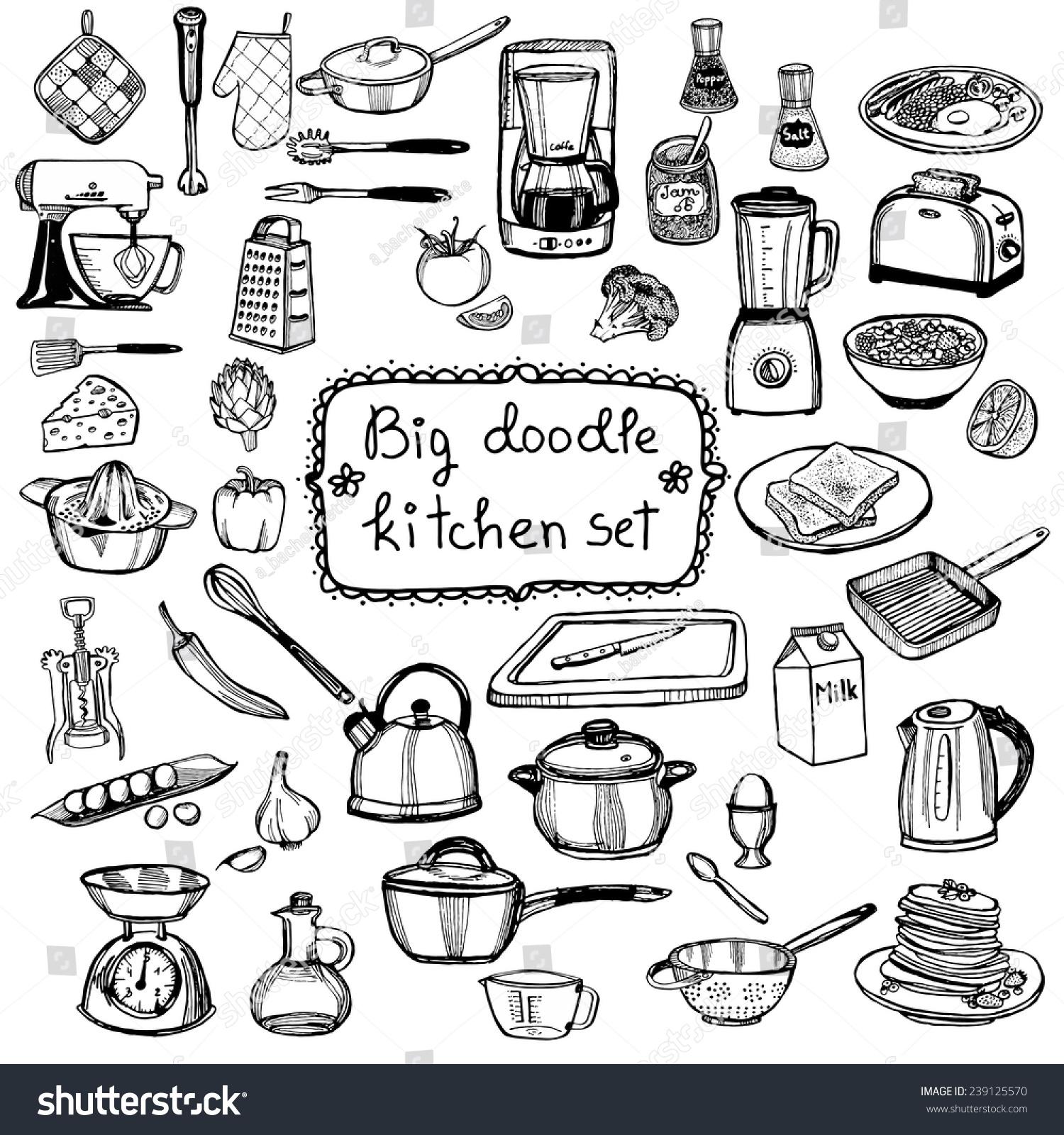 Hand drawn doodle kitchen set stock vector illustration for Kitchen set vector
