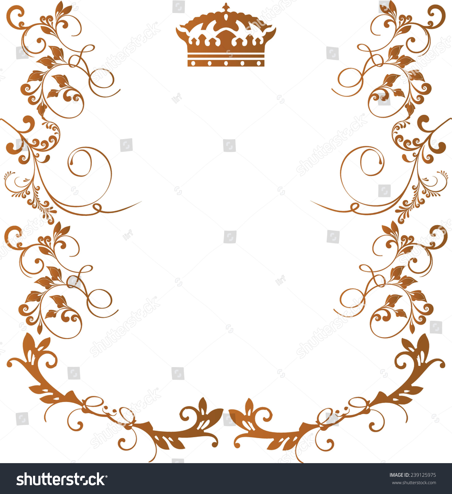 royal floral frame with crown isolated on white background gold color