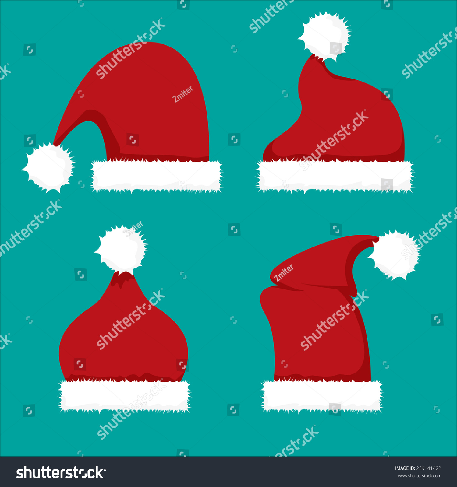bae3808a392e3 Red Santa Hat Flat Icon Vector Stock Vector (Royalty Free) 239141422 ...