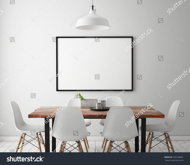 Mock poster frame white scandinavian dining stock for Dining room picture frames