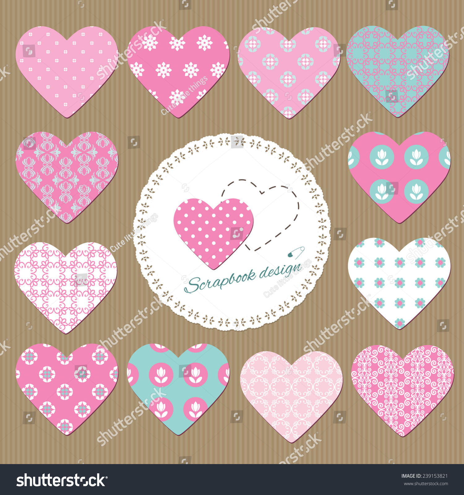 Hearts Set Scrapbook Design Elements Different Stock Vector Royalty