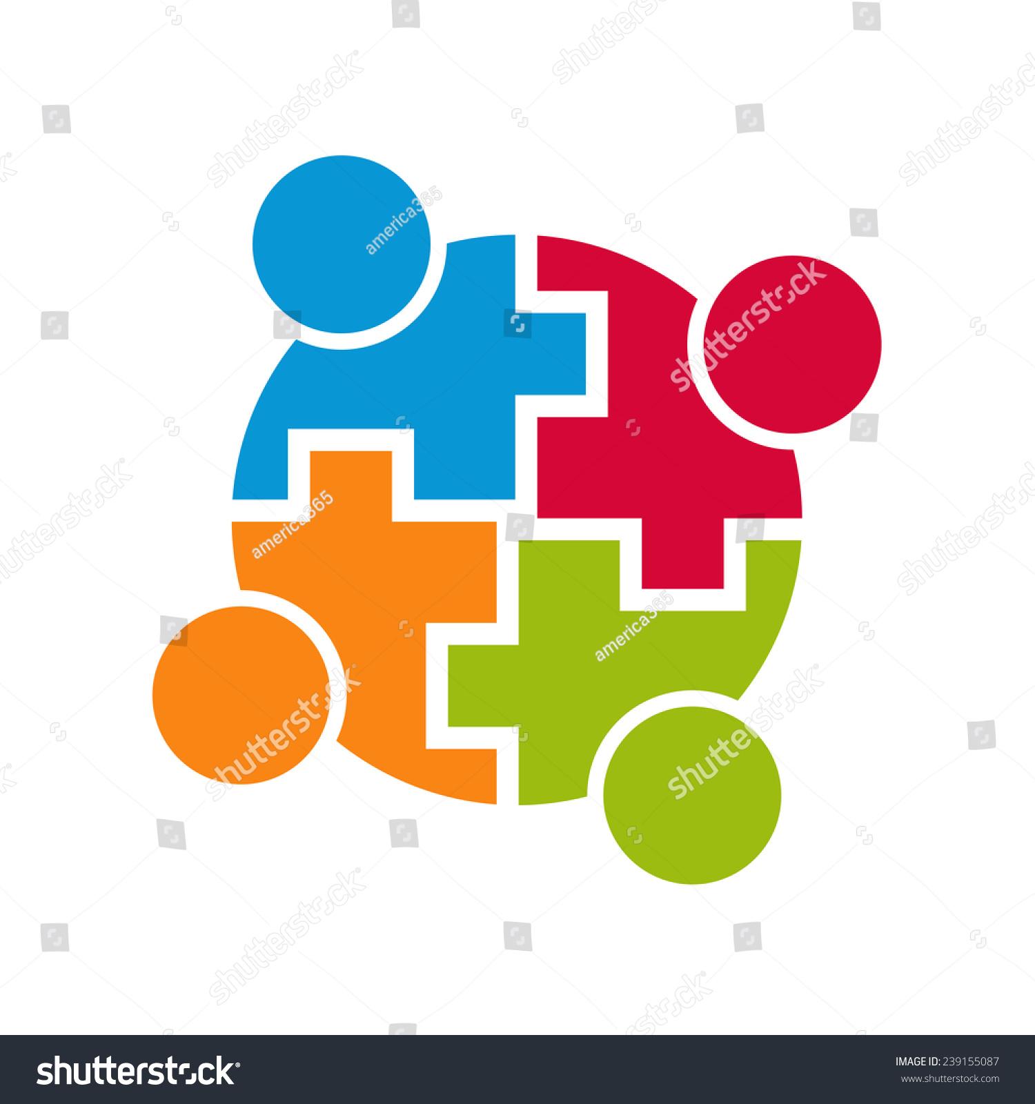 Teamwork Community Logo Connection Group 4 Stock Vector 239155087 ...