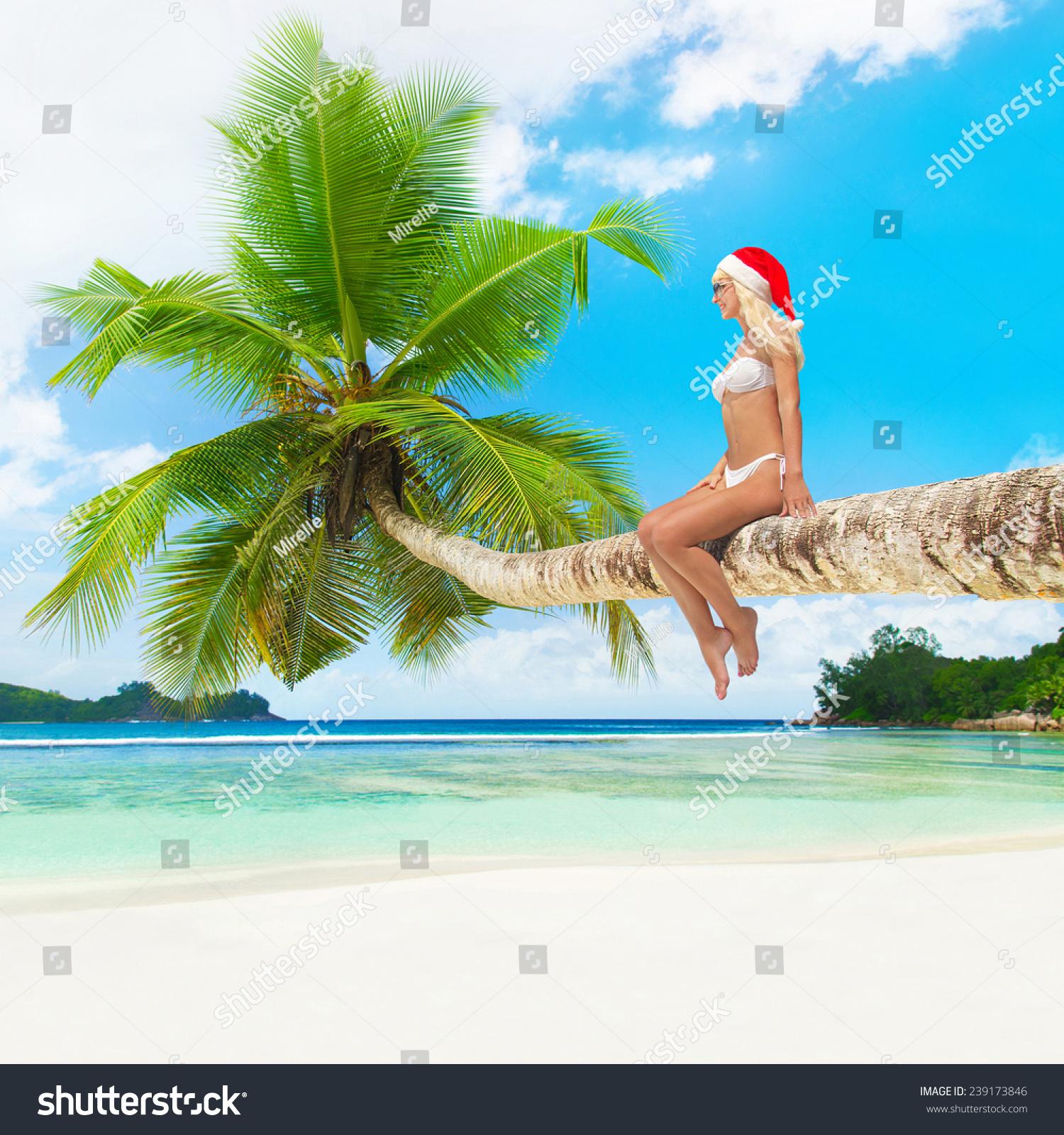 Royalty-free Cute blonde woman in bikini and santa… #239173846 Stock ...