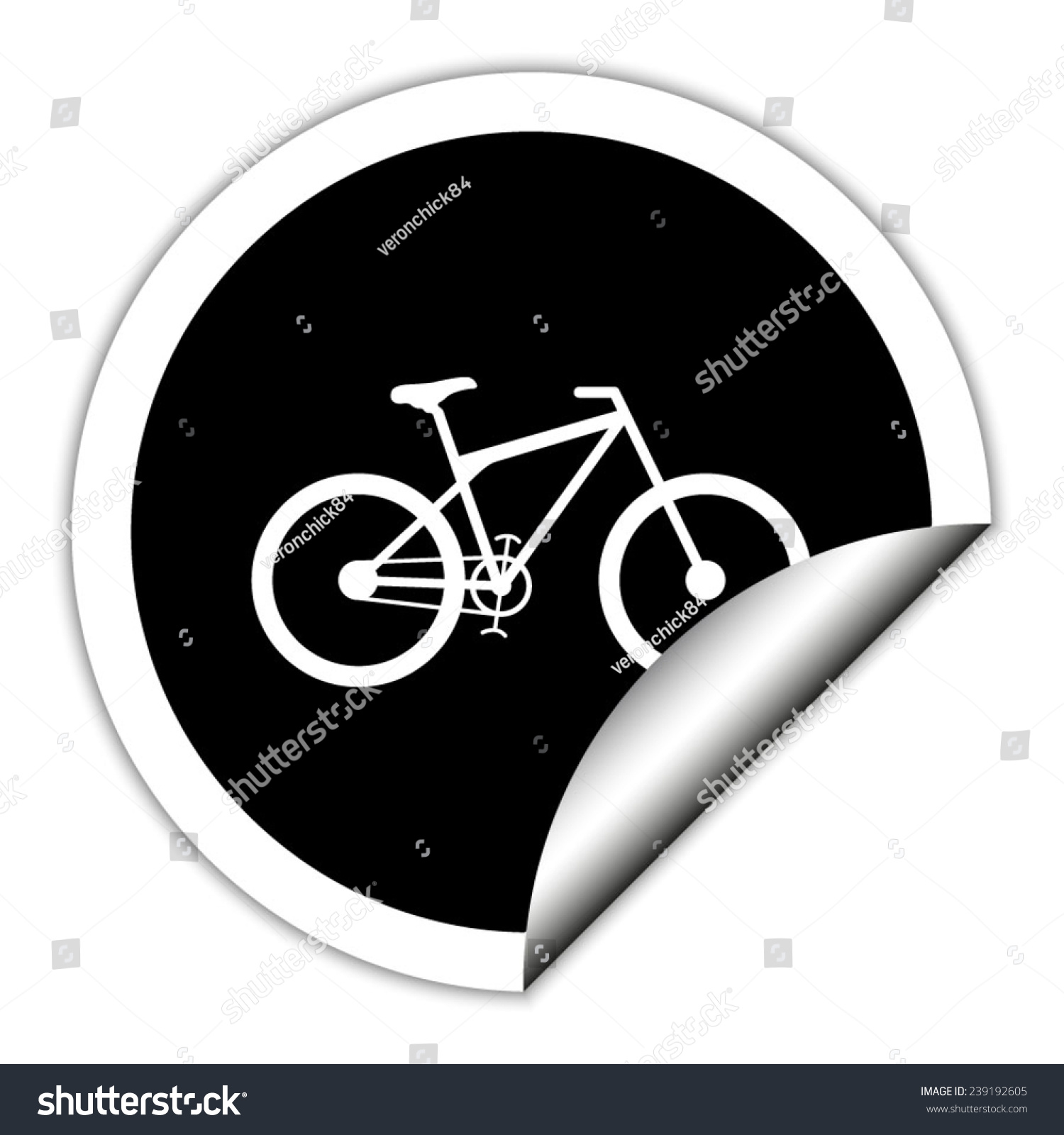 Bicycle Black Vector Icon Round Sticker Stock Vector Royalty Free