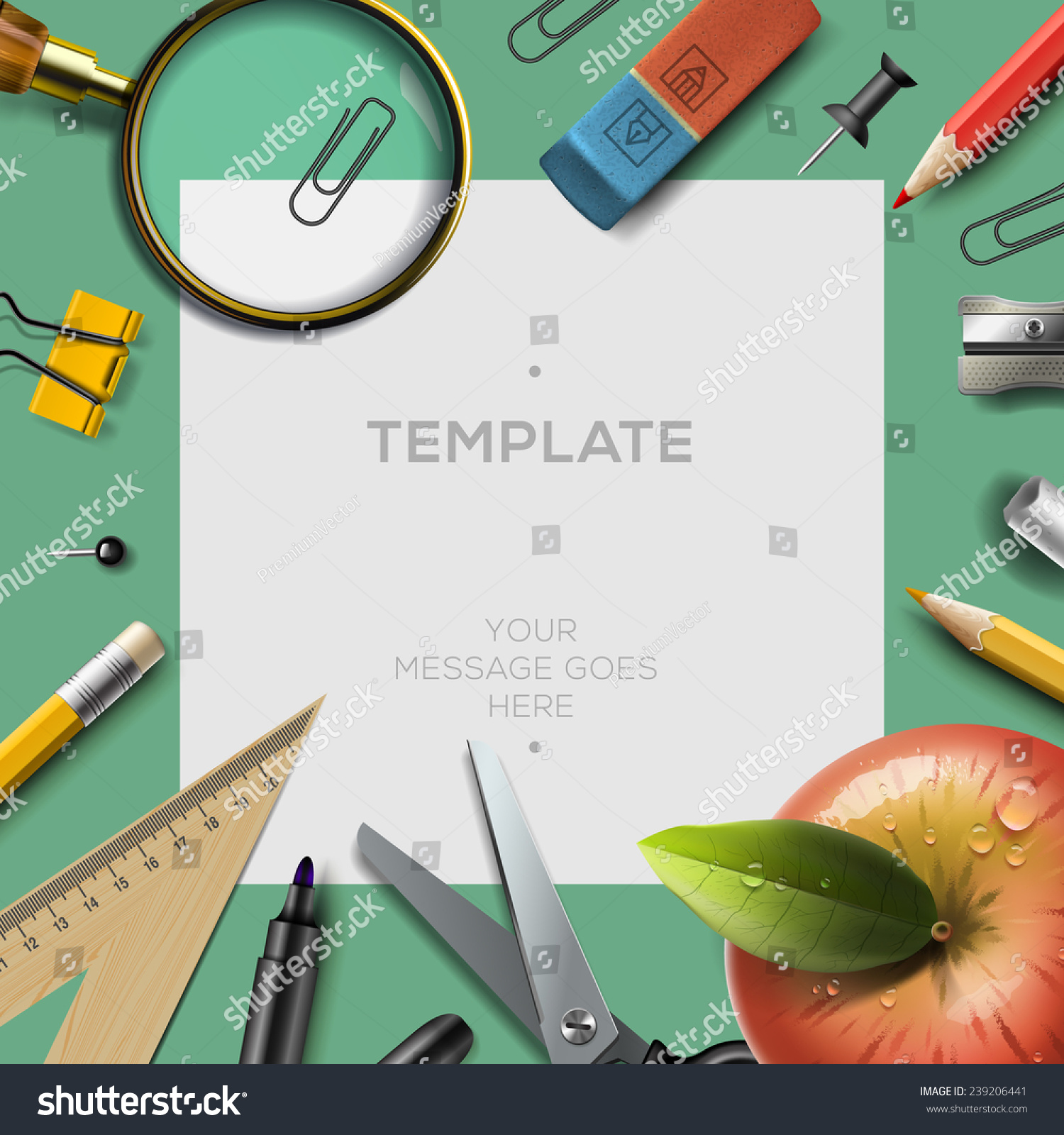 education template office supplies back school stock vector education template office supplies back to school background vector illustration
