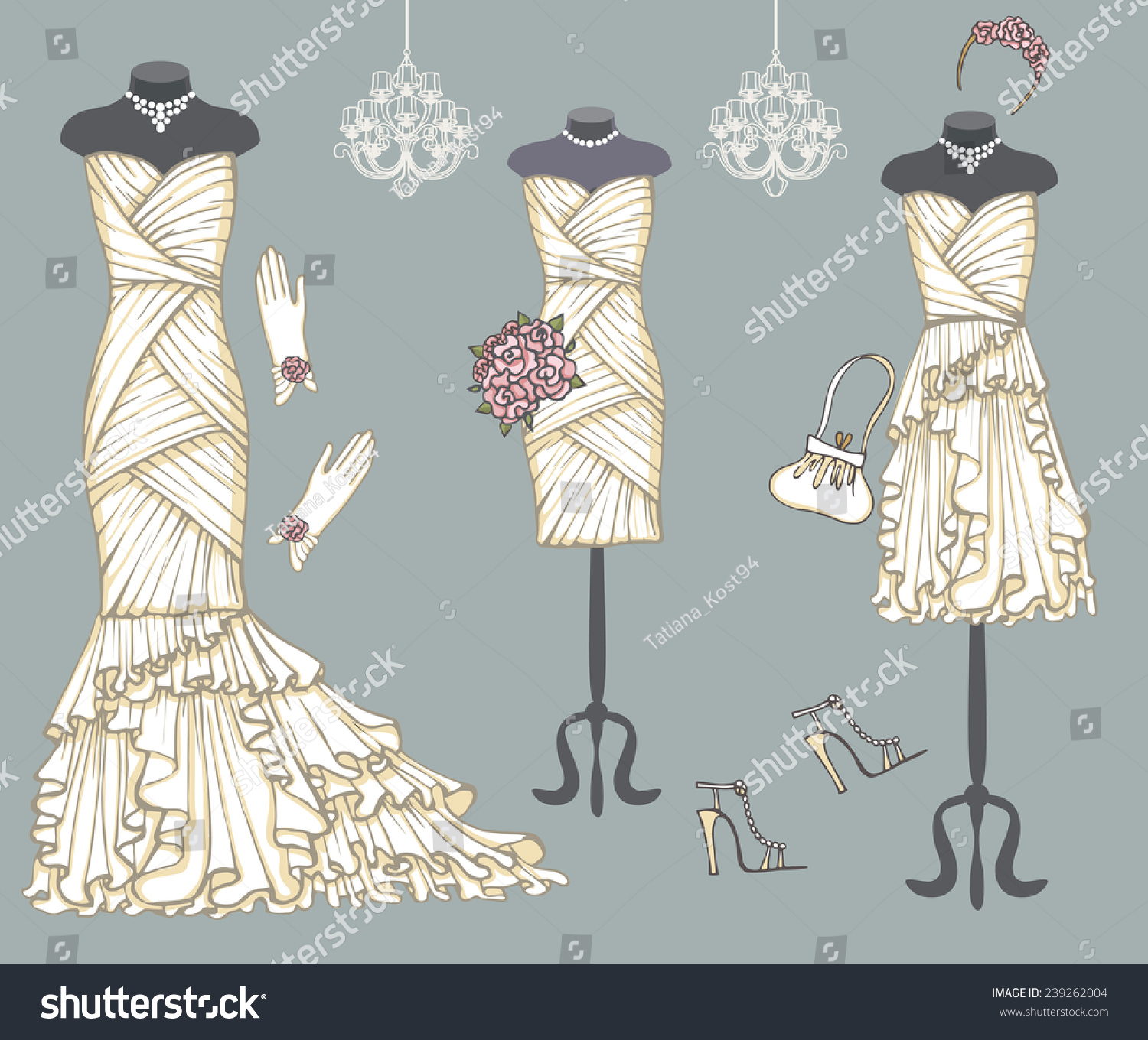 Vintage Composition Three Females White Wedding Stock Vector ...