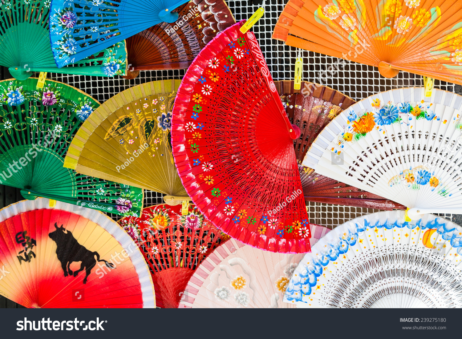 Bright colors on these traditional Spanish Fans in Saville, Andalusia  Region.
