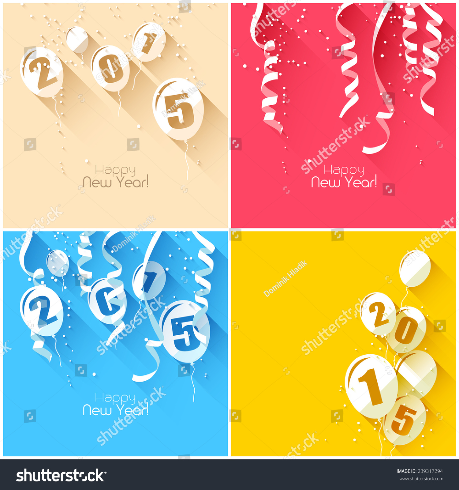 Happy New Year 2015 Modern Greeting Stock Vector 239317294