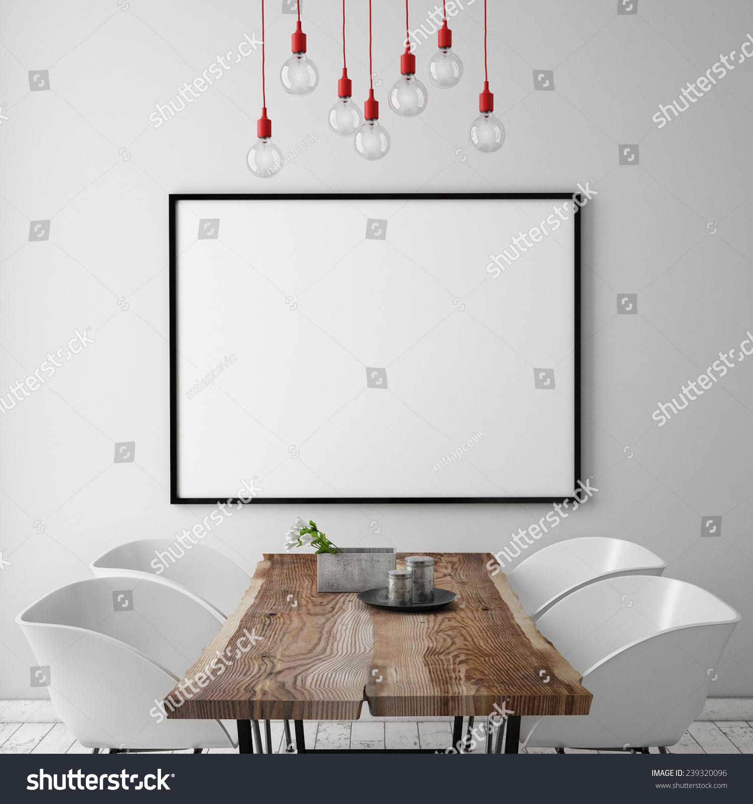 Mock Up Poster Frame In White Scandinavian Dining Room
