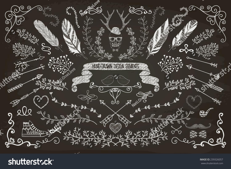 Handdrawn Doodle Floral Design Elements Decorative Stock ...