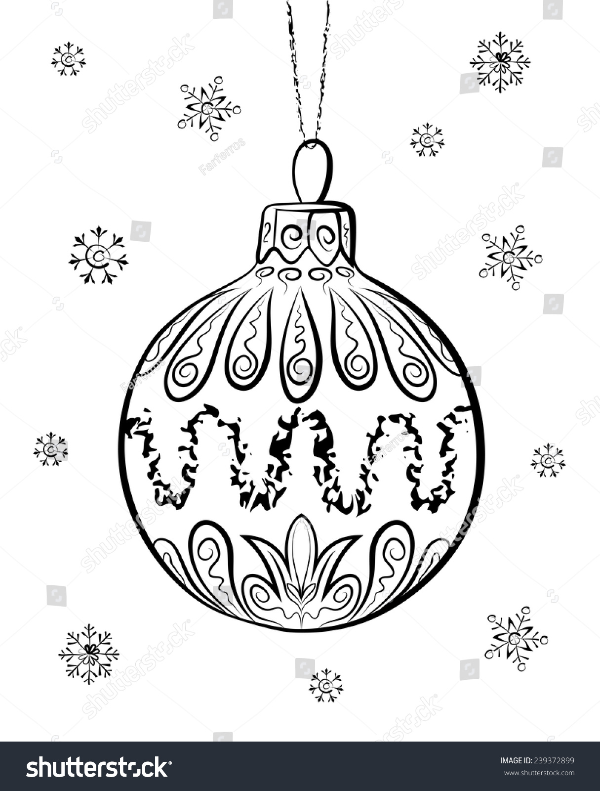 Drawing Decoration Ideas Of Vector Sketch Christmas Ball On White Stock Vector