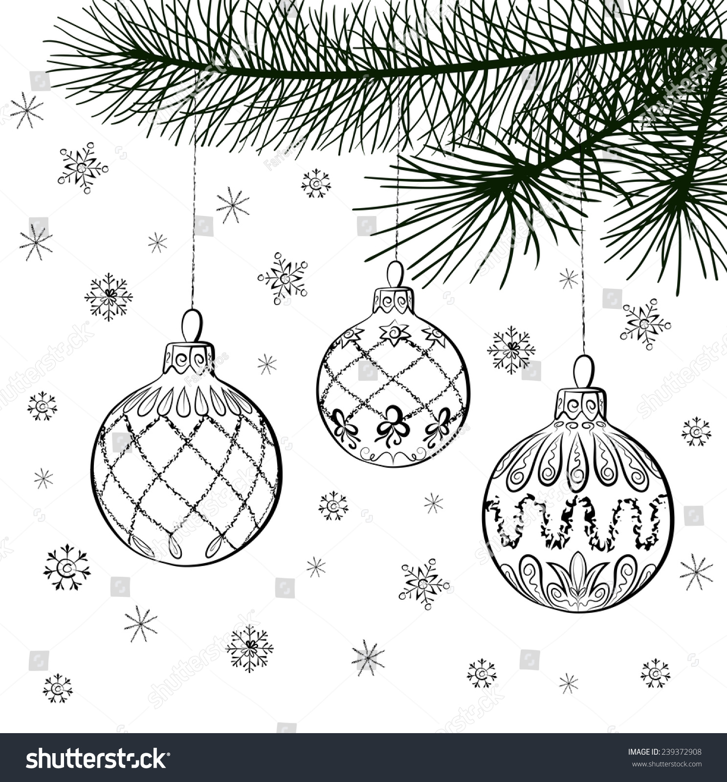Drawings Of Christmas Decorations.Vector Sketch Of Three Christmas Balls Stock Photo