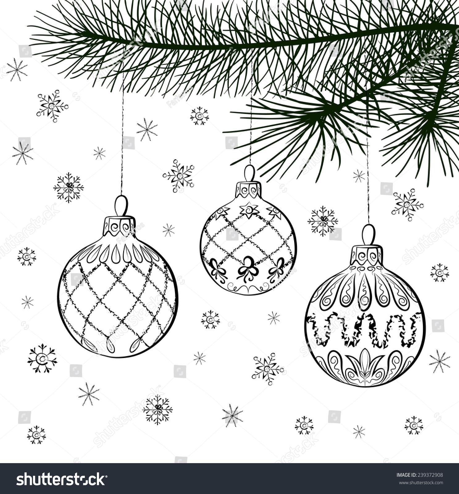 Vector Sketch Of Three Christmas Balls… Stock Photo