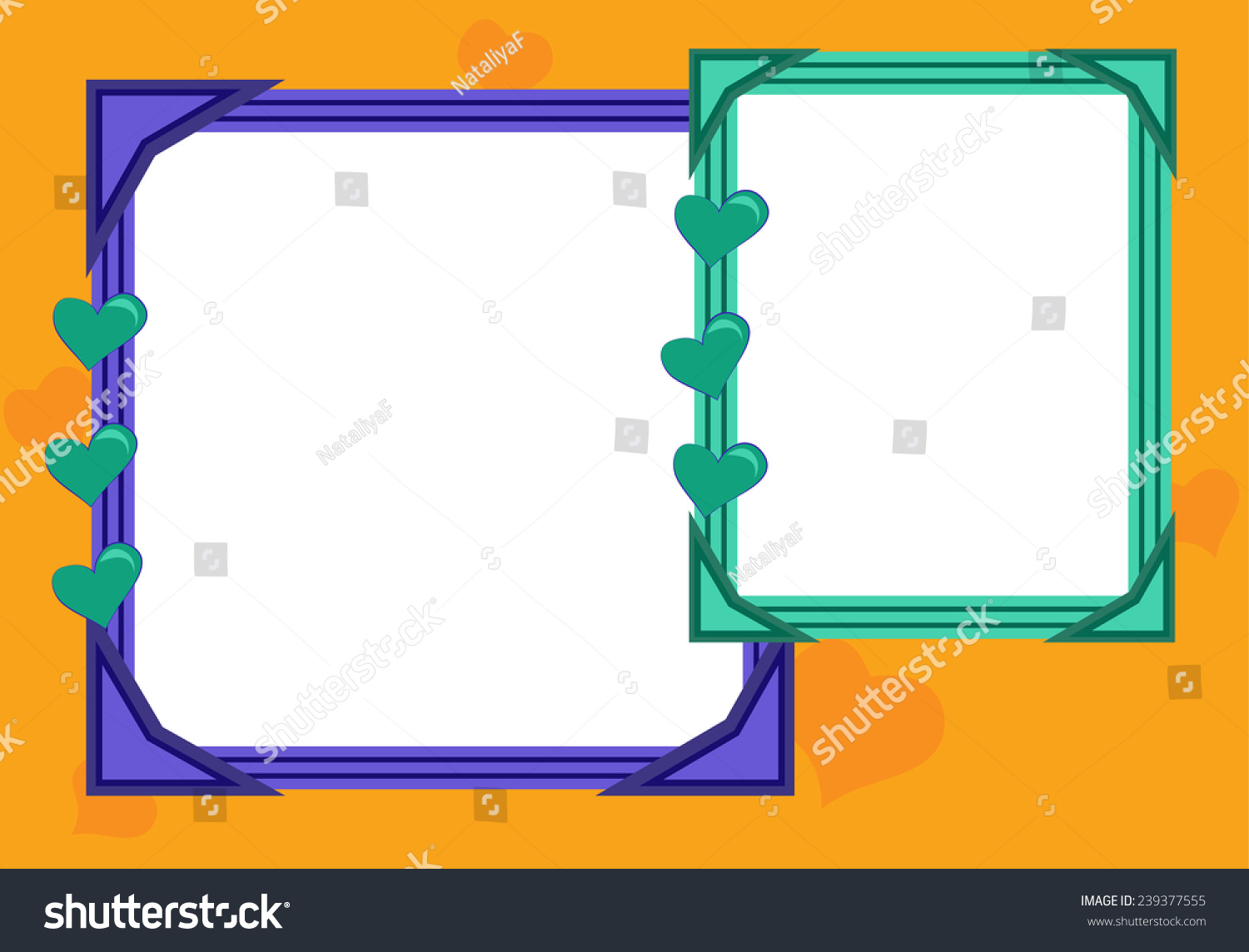 Bright Frame Two Cutouts Hearts Vector Stock Vector 239377555 ...