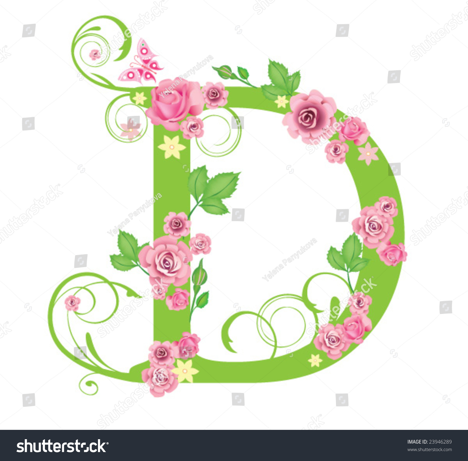 Letter D With Roses For Design