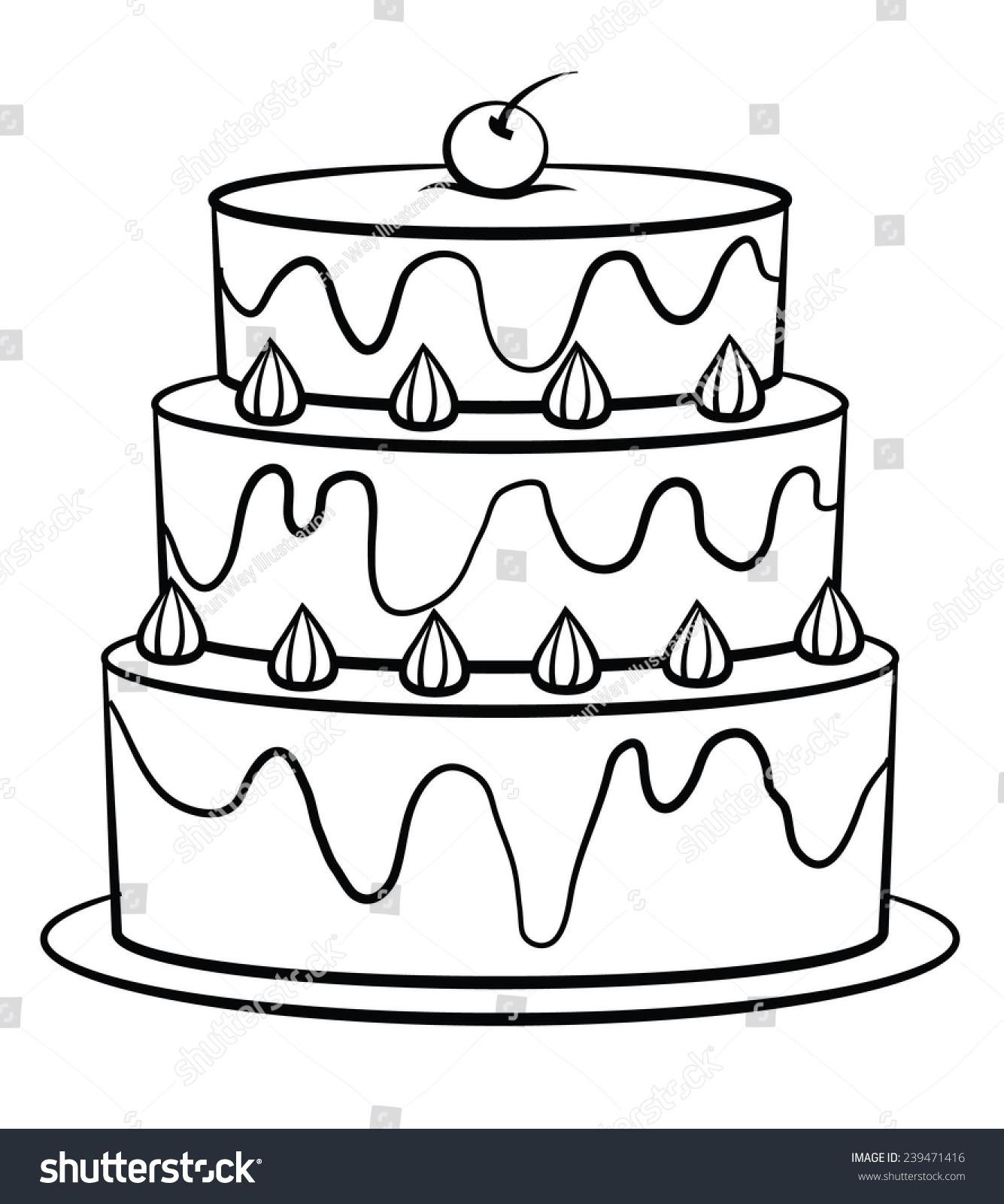 Royalty Free Stock Illustration Of Black White Birthday Cake Stock