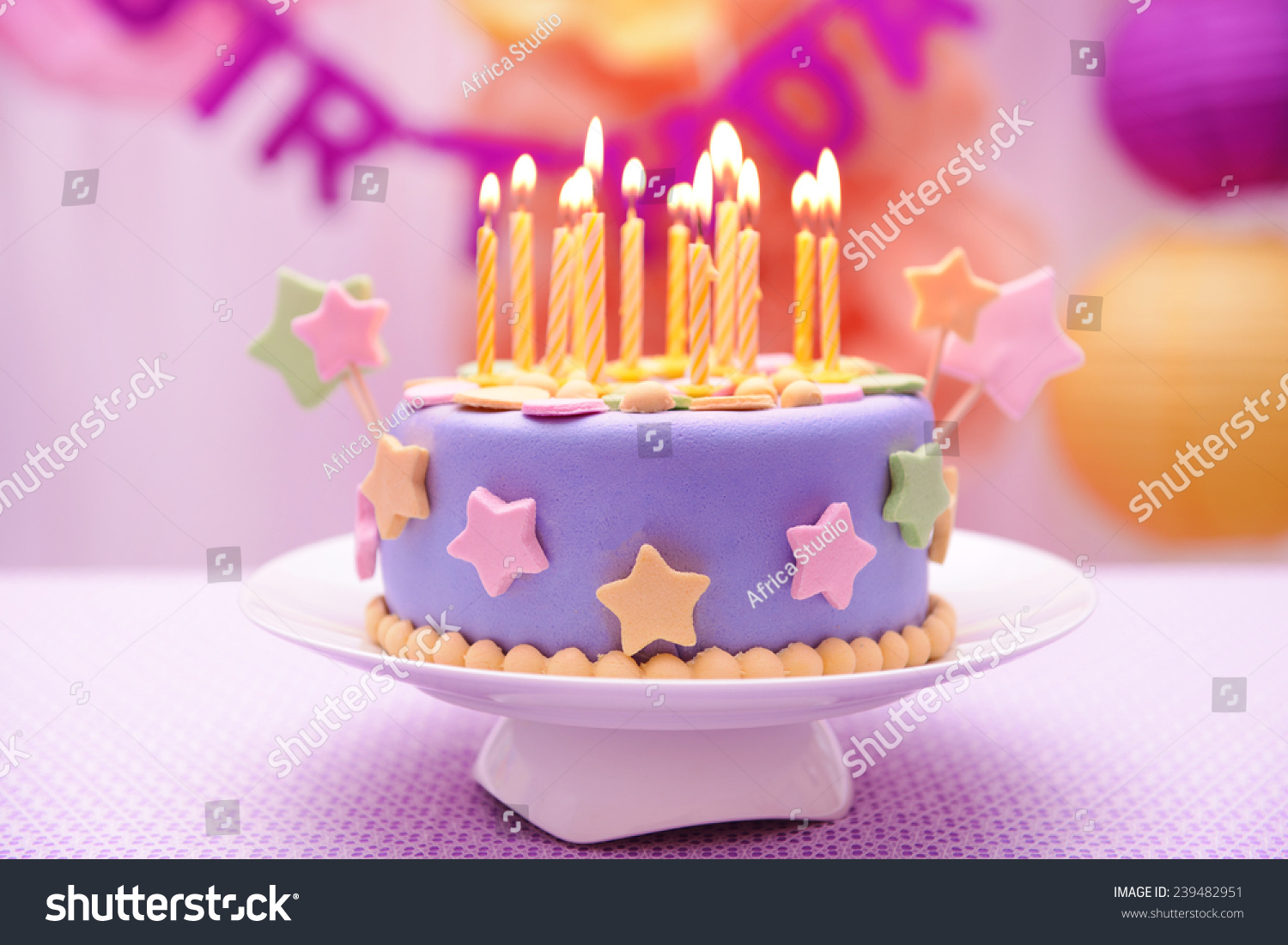 Delicious Birthday Cake On Table On Stock Photo Edit Now 239482951