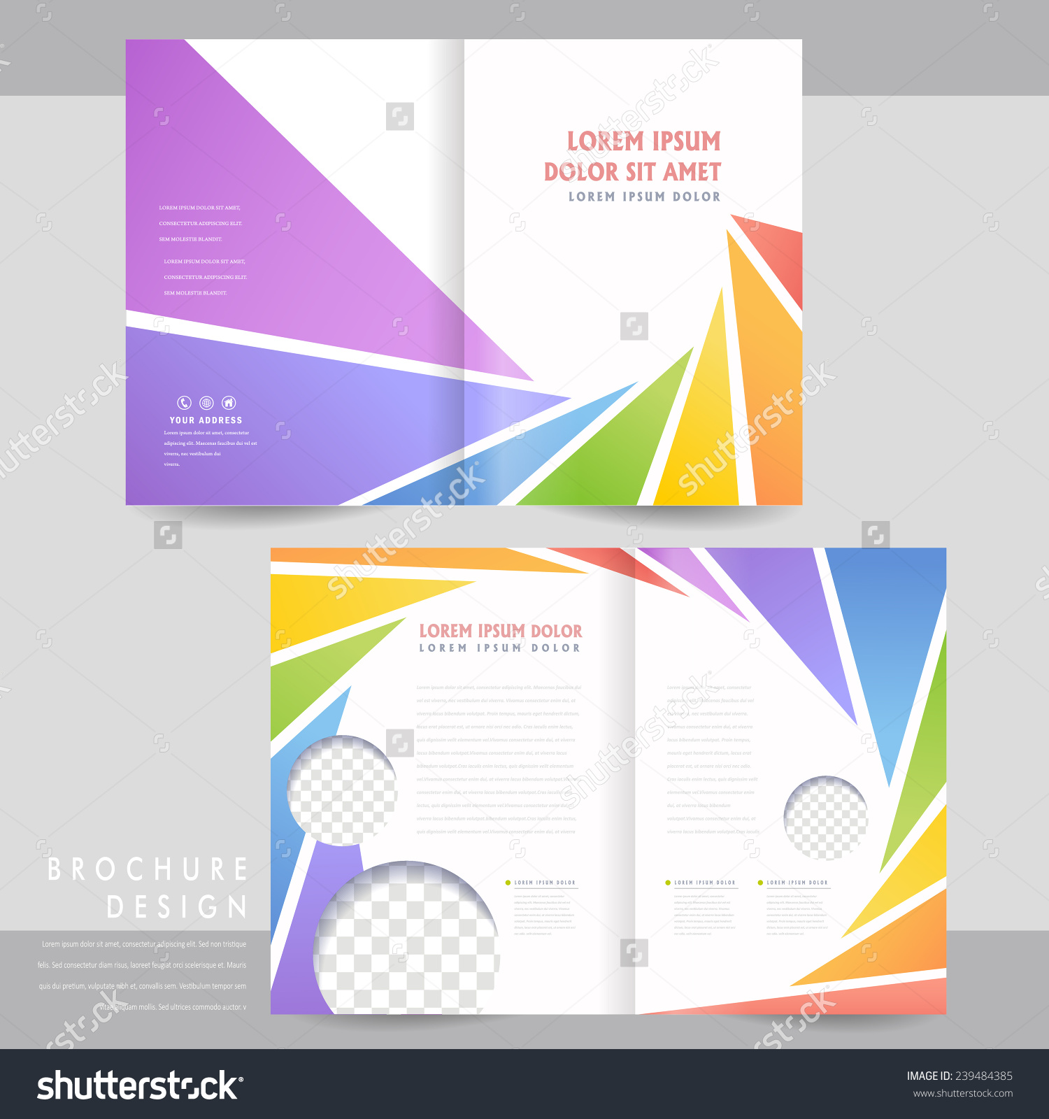 Colorful Halffold Brochure Template Design Spiral Stock Vector ...
