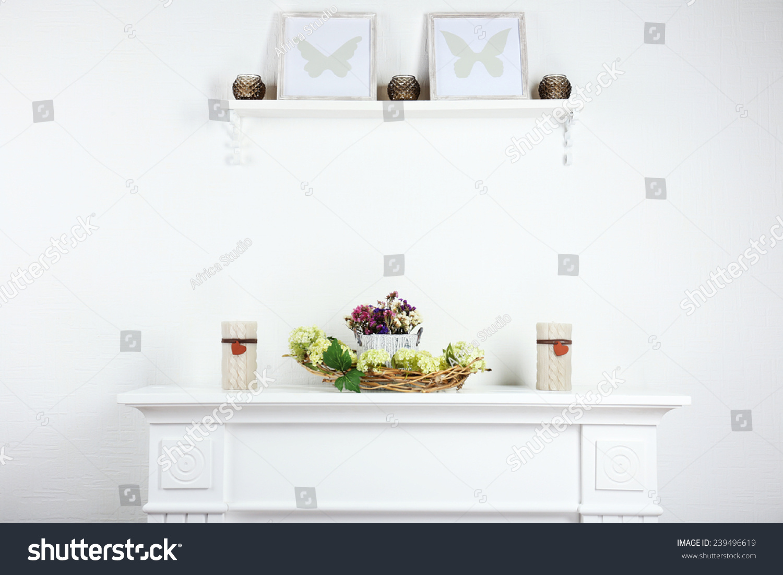 Stylish Shelves Candles Frames Stock Photo (Edit Now) 239496619 ...