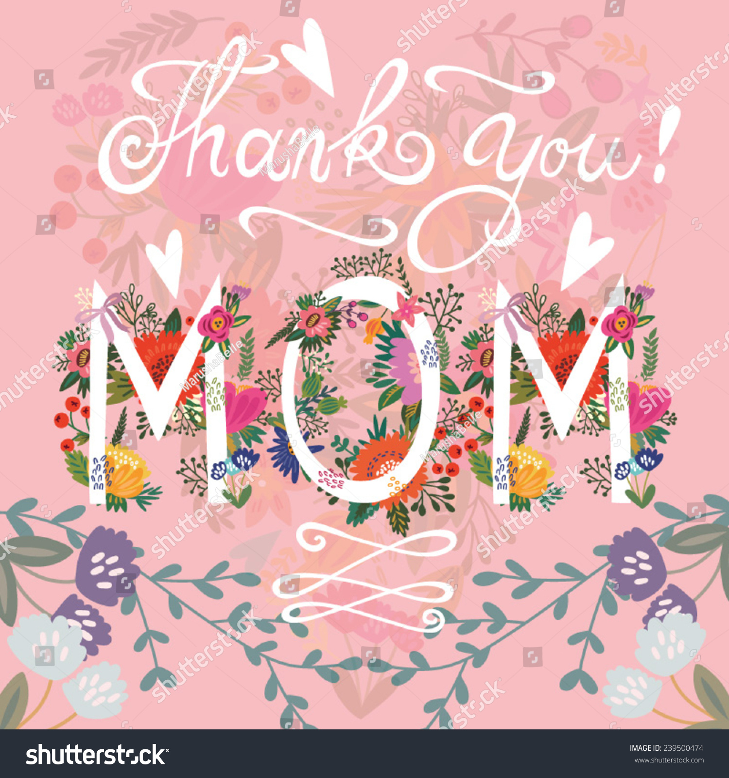 Beautiful Greeting Card Thank You Mom Bright Illustration Can Be Used