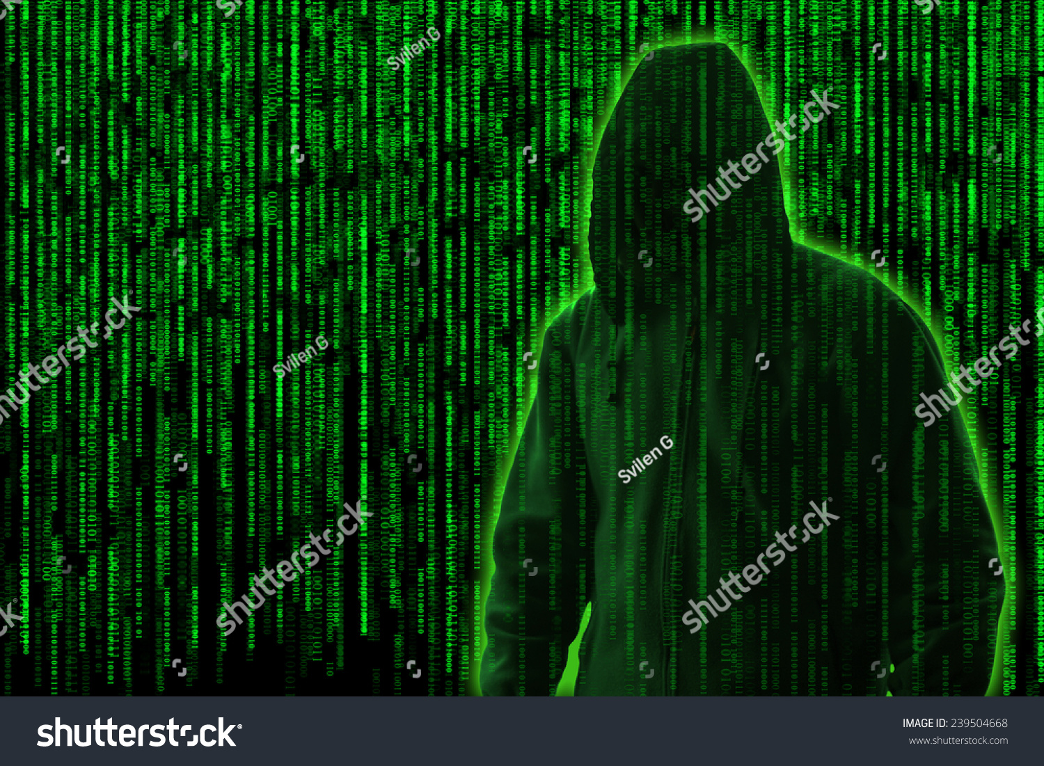 Conceptual Image Hacker On Matrix Background Stock Illustration Or Photo Of Circuit Board Skinned Human Close Up And Binary Code A Falling Green Computer Digits