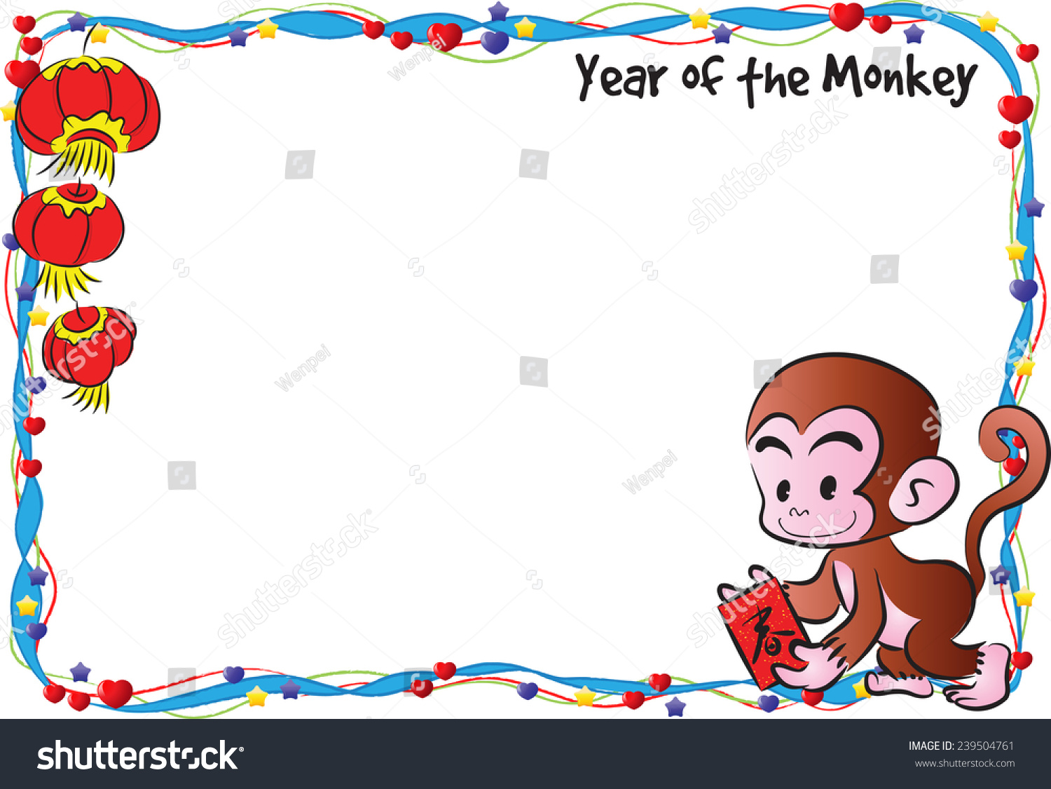 year of the monkey border frame - Monkey Picture Frame