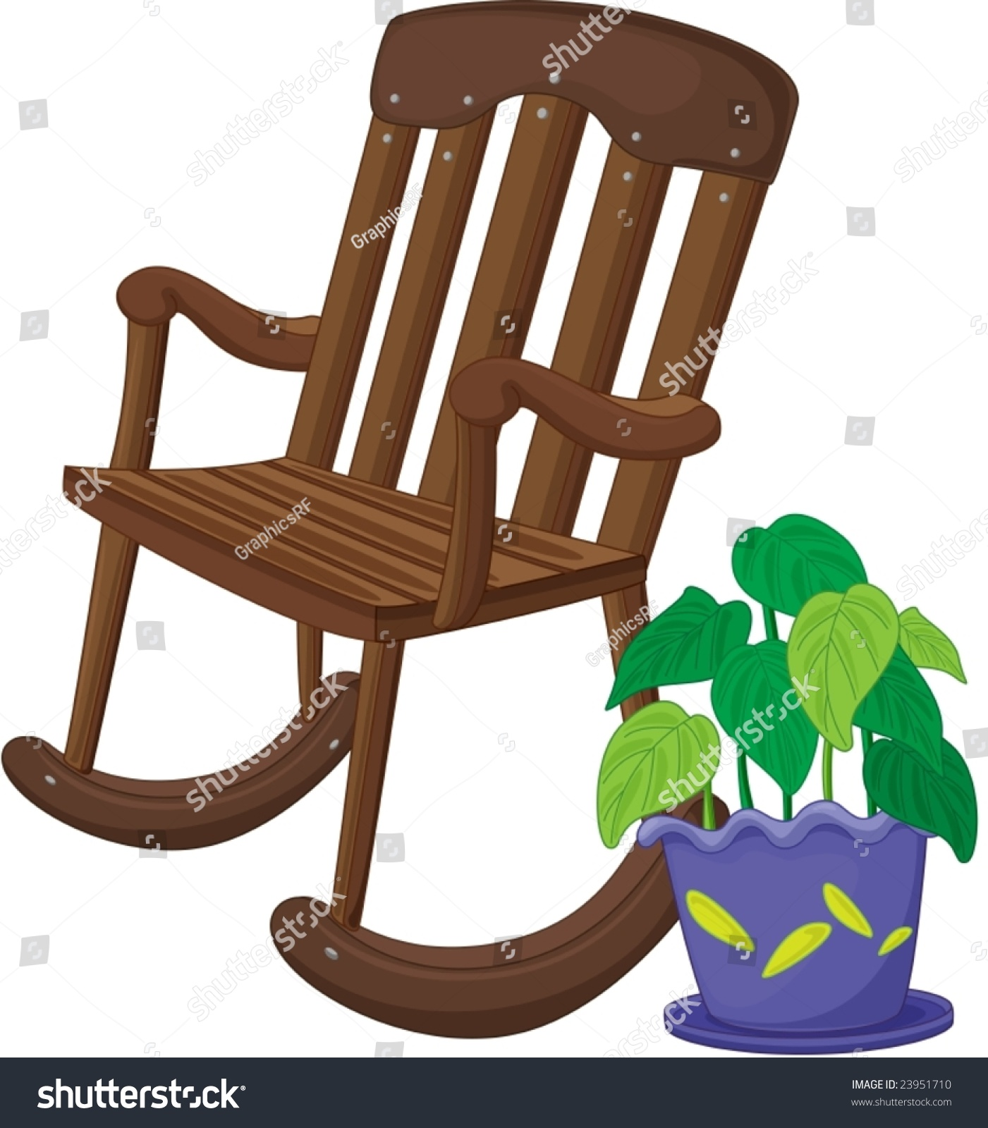 Illustration Wooden Rocking Chair Stock Vector Shutterstock