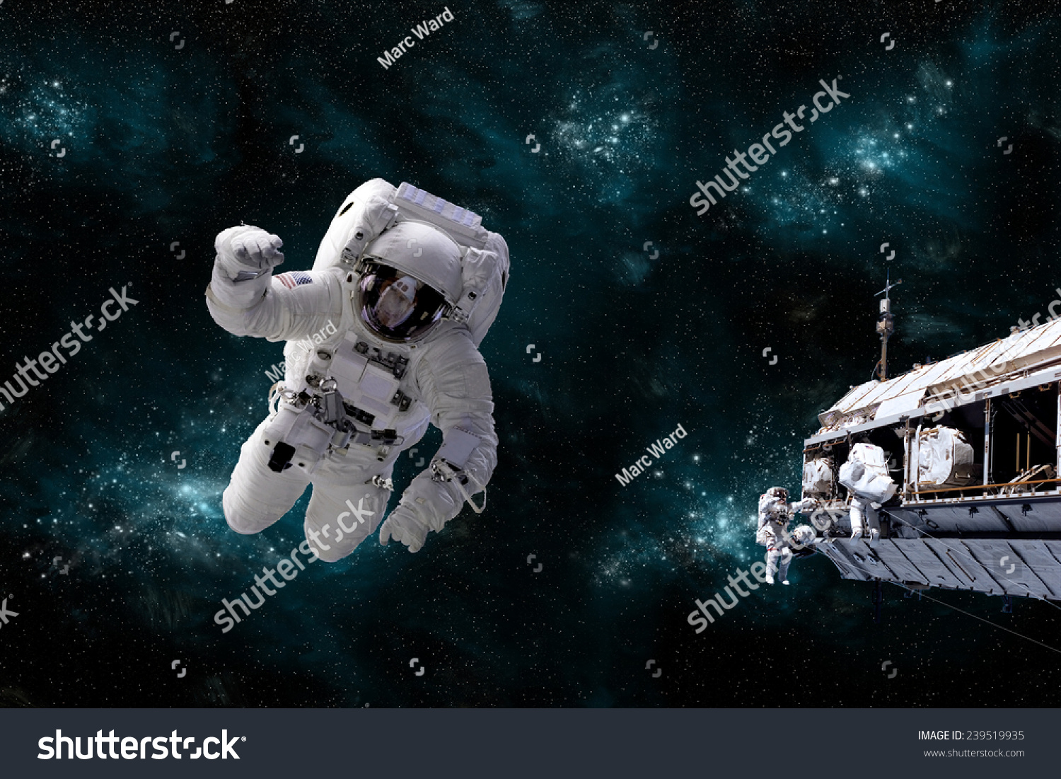 Depiction astronaut floating outer space while stock photo for Outer space elements