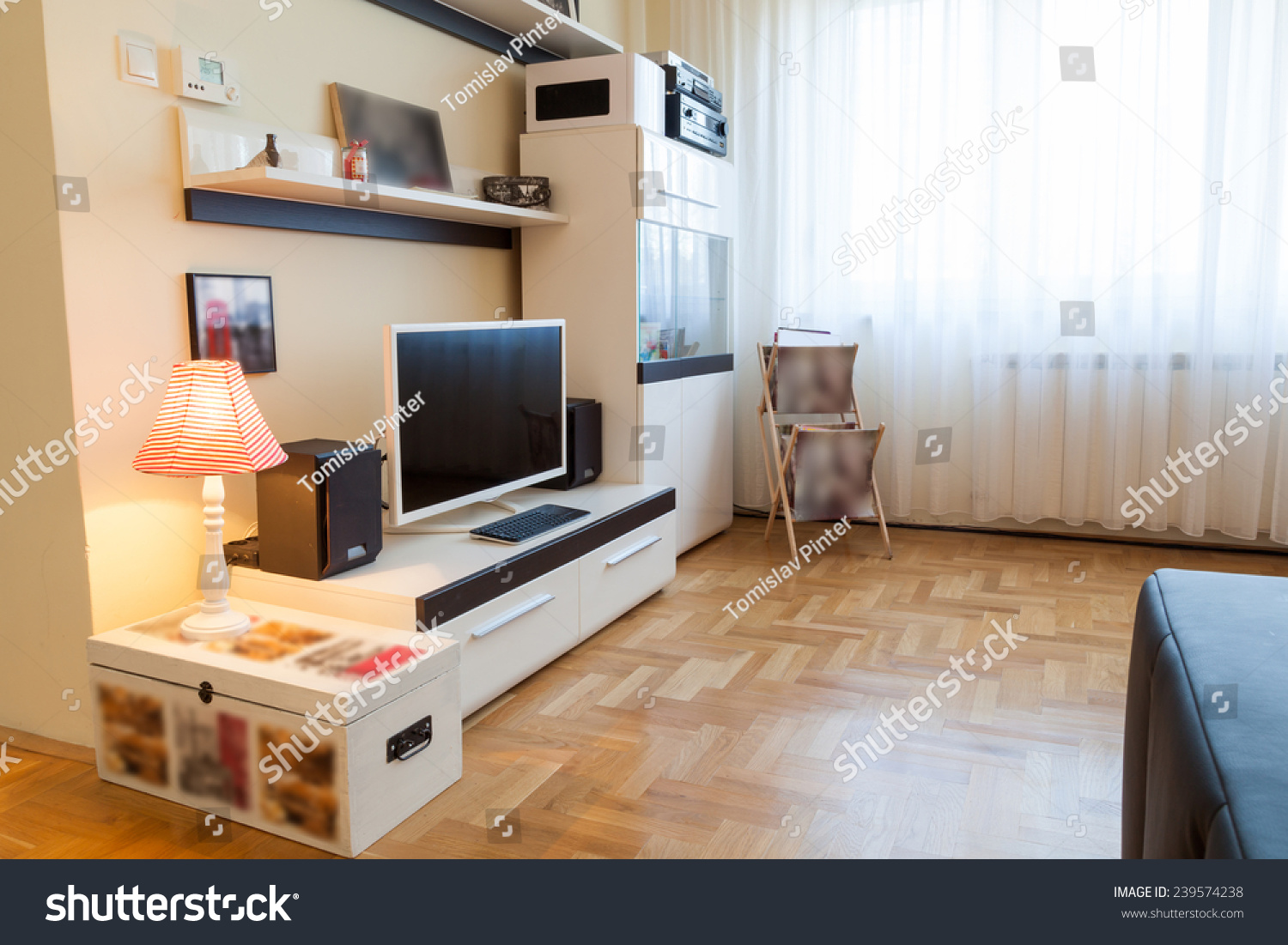 Modern Living Room Tv And Speakers Ambient Light Enhanced Colors Stock Photo 239574238