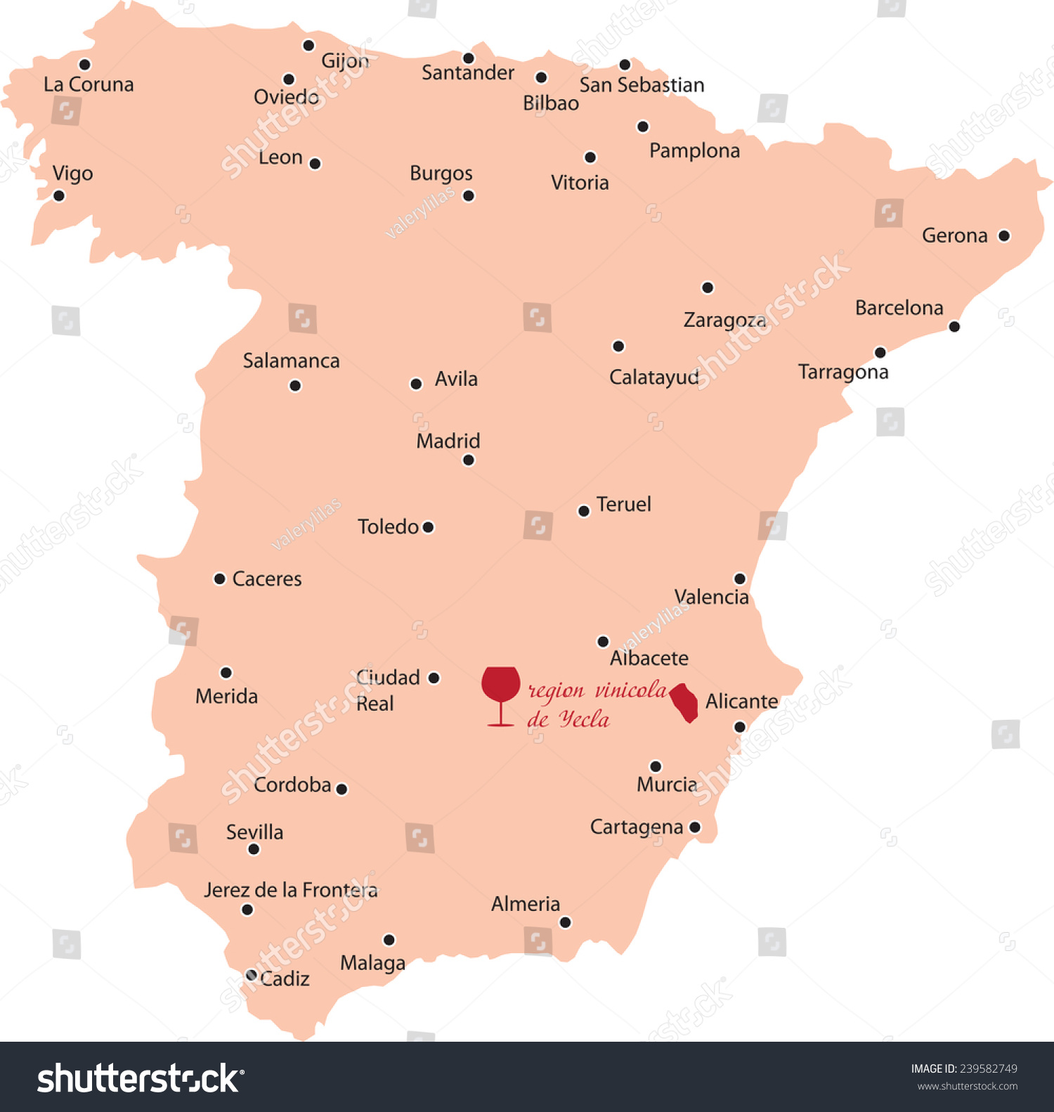 Map Of Yecla Spain.Map Region Yecla Spain Stock Vector Royalty Free 239582749