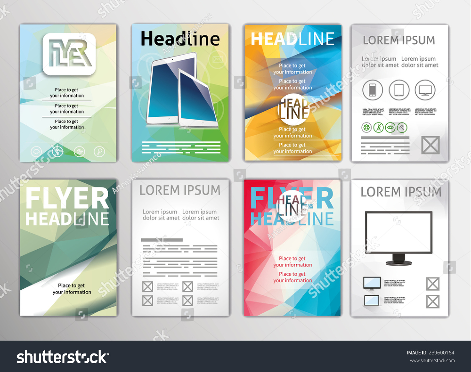 vector set flyers templates brochures a stock vector  vector set of flyers templates brochures a4 size abstract examples