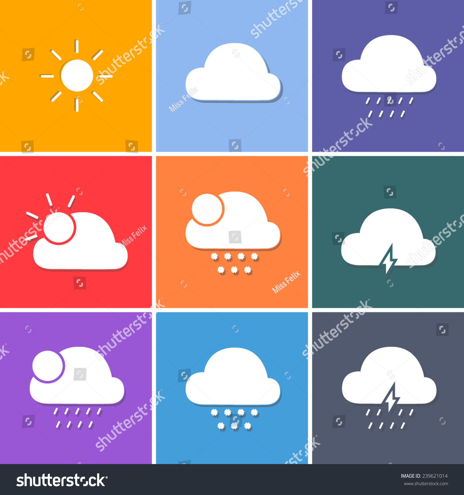 Vector Weather Forecast Symbols White Icons Stock Vector Royalty
