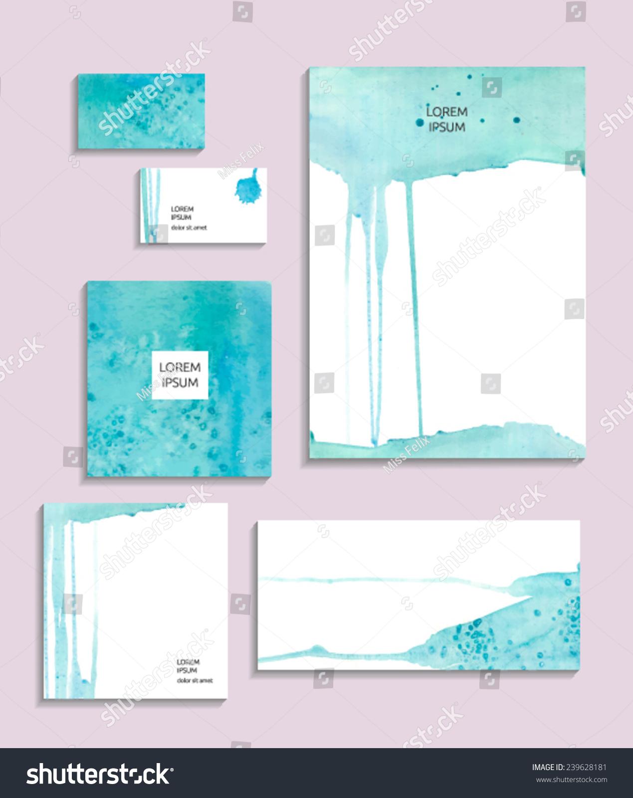 watercolor corporate identity vector identity templates stock