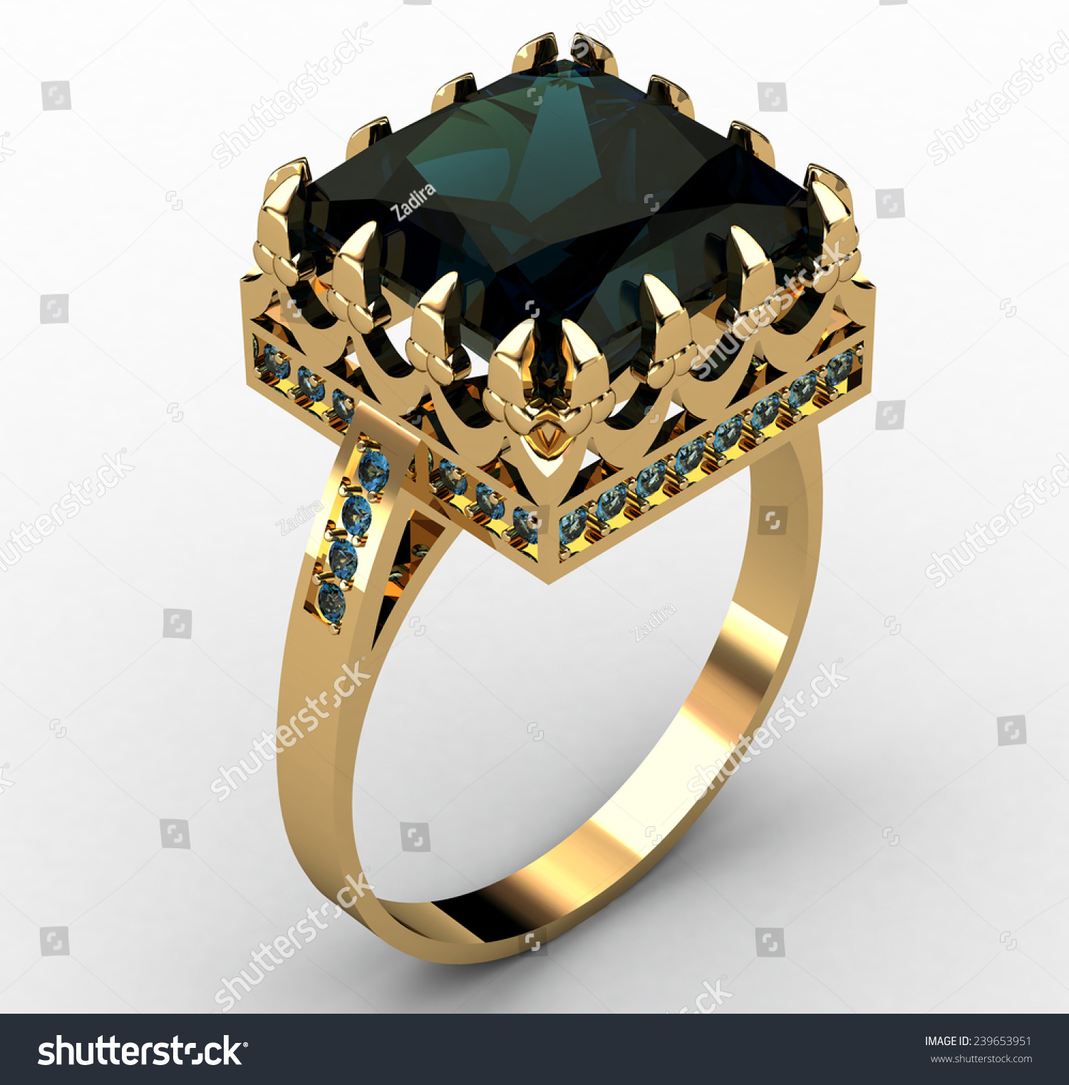 Beautiful Golden Ring Big Green Stone Stock Illustration 239653951 ...