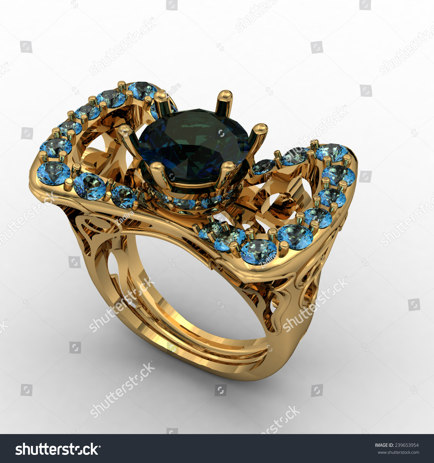 Beautiful Golden Ring Big Green Stone Stock Illustration 239653954 ...