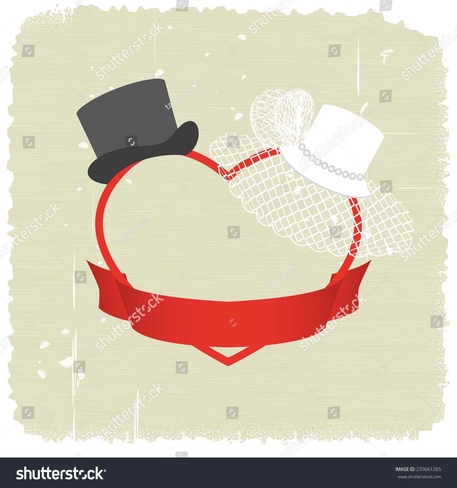 Wedding Invitations White Hat Veil Black Stock Illustration ...