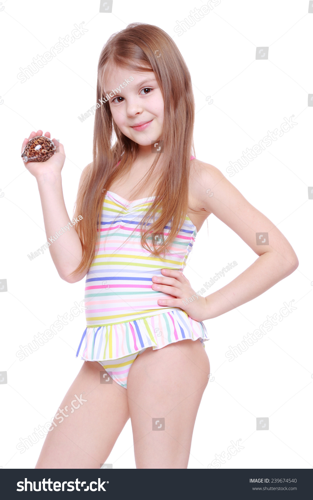 Little Girls Wearing Their Swimming Costumes Dress Images