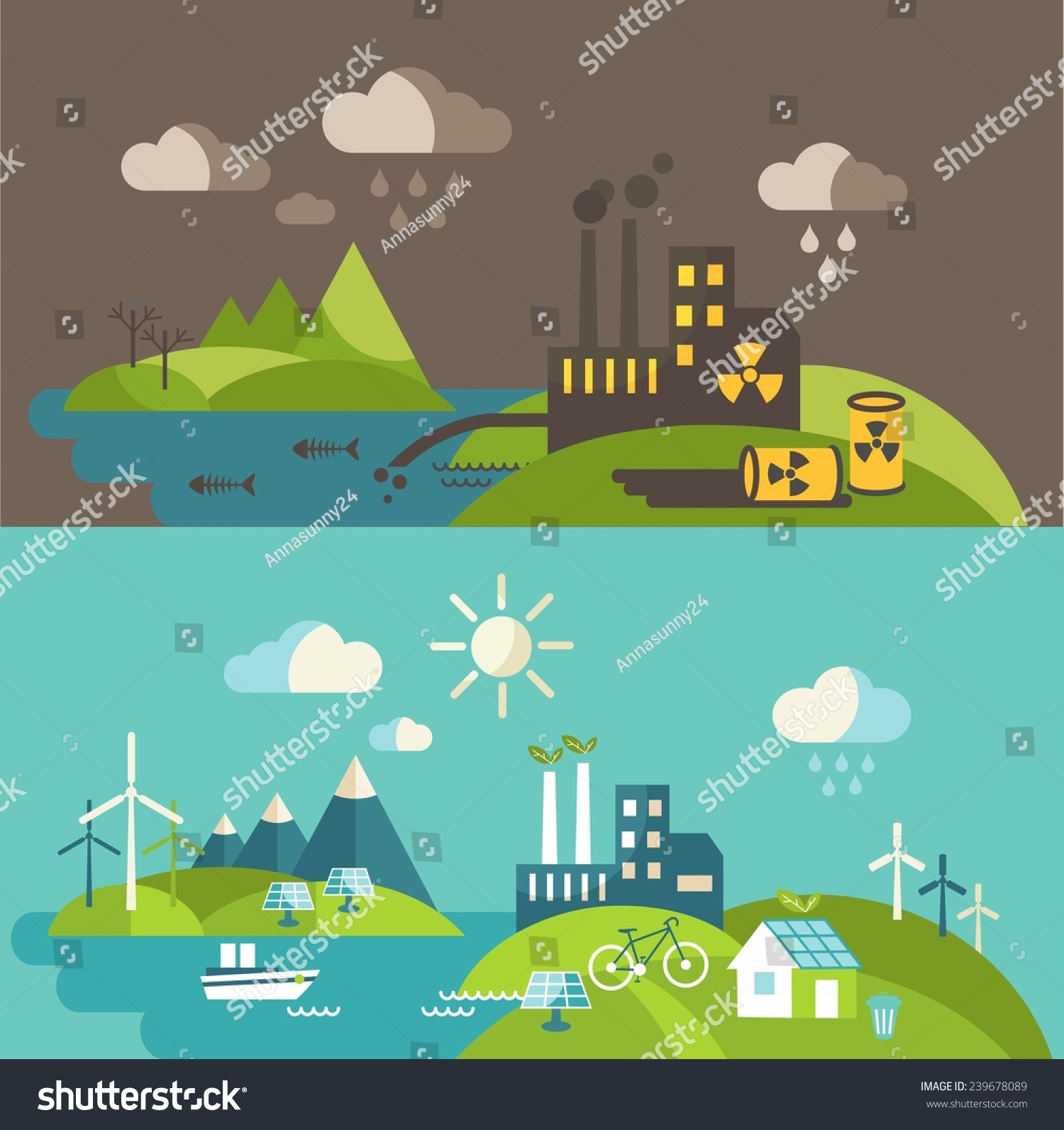 Nature Ecology: Panoramic Landscape Ecology Concept Concept Pollution