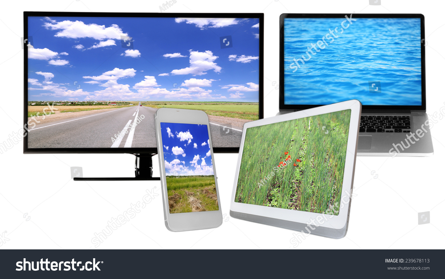 Monitor, laptop, tablet and phone with nature wallpaper on screens in collage isolated on