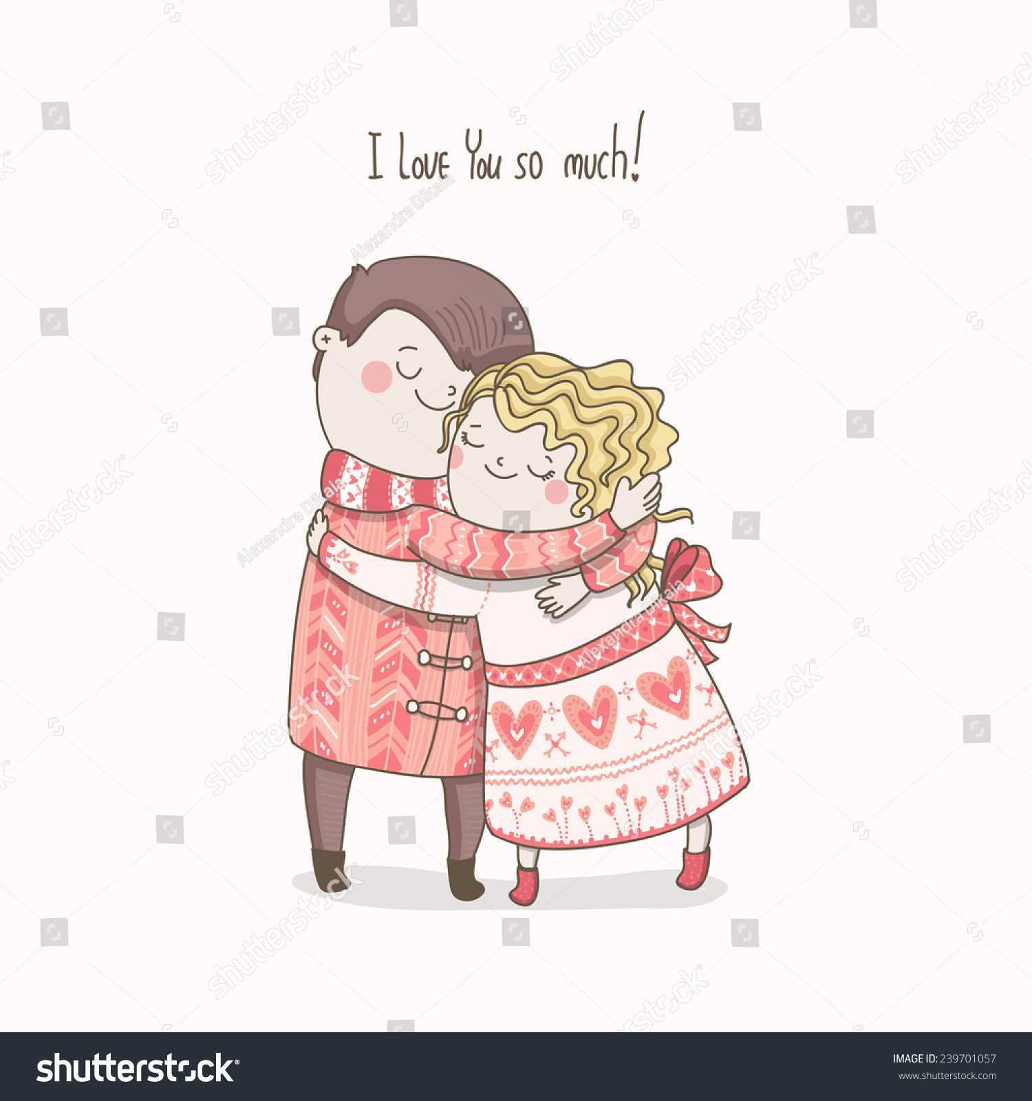 Cute Vector Card Love You Much Stock Vector Royalty Free 239701057