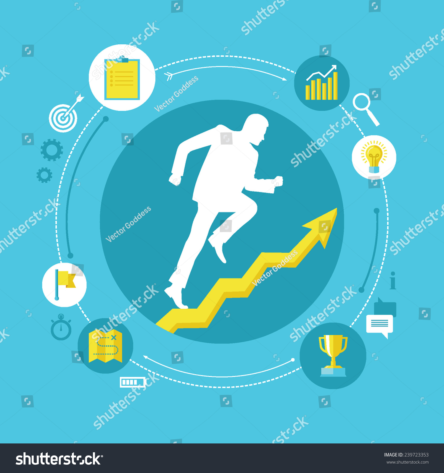 flat design colorful vector illustration concept stock vector flat design colorful vector illustration concept for personal development professional growth successful career